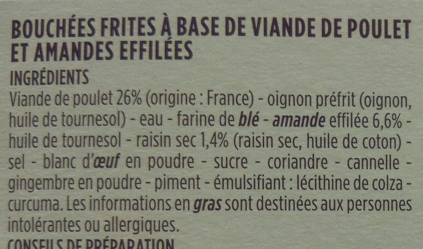 Mini pastillas poulet et amandes - Ingrédients - fr