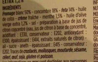 Tzatziki aux brisures de feta - Ingredients - fr