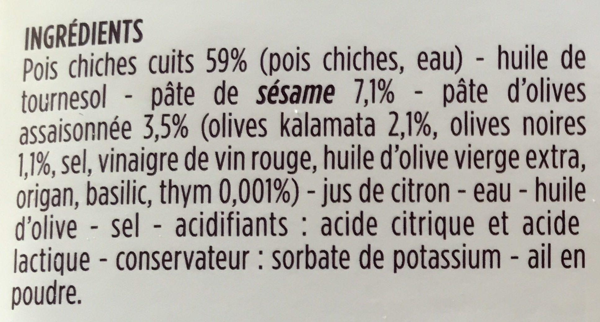 Houmous aux olives Kalamata et olives noires - Ingredients
