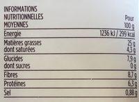 Houmous aux olives Kalamata et olives noires - Nutrition facts