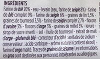 Pain multicereales et graines farine de seigle 16% - Ingrédients - fr