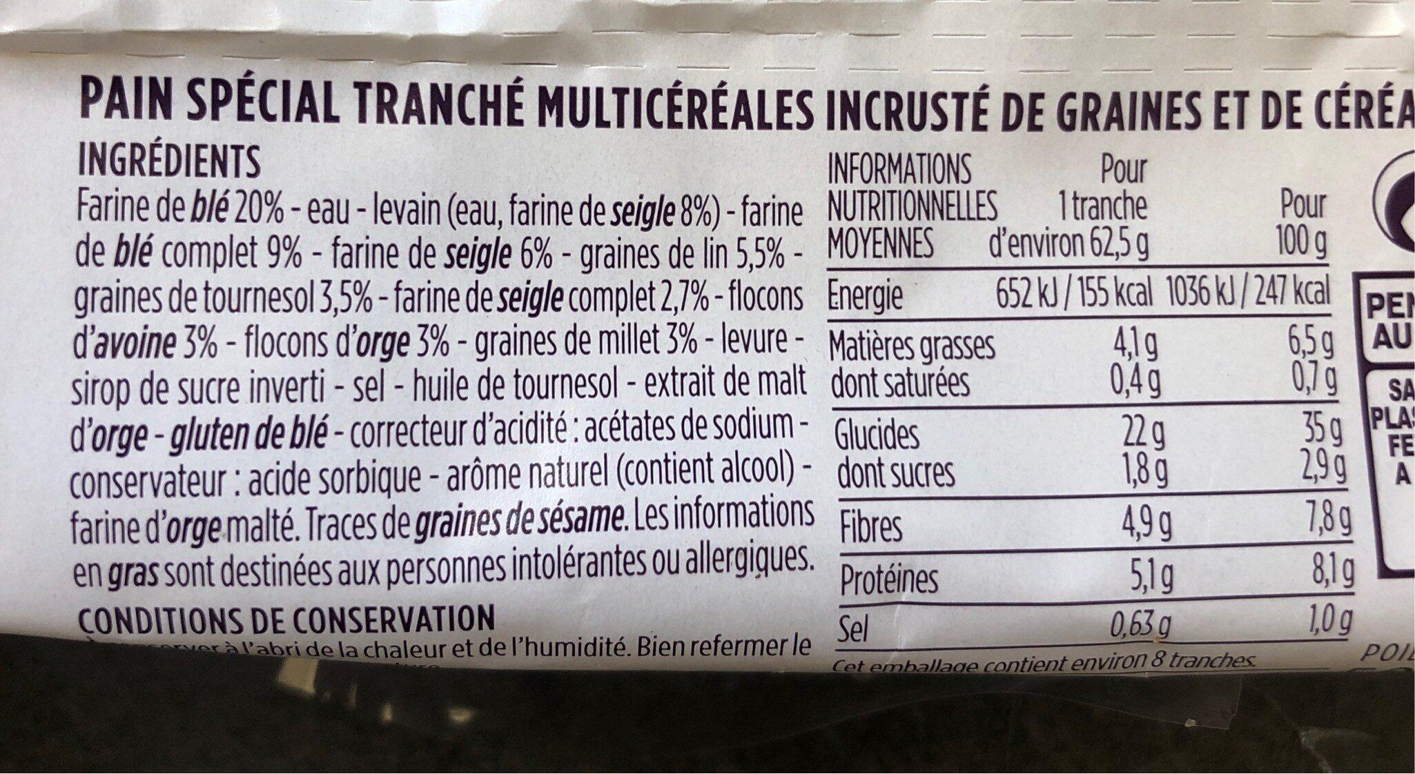 Pain multicereales et graines - Informations nutritionnelles - fr