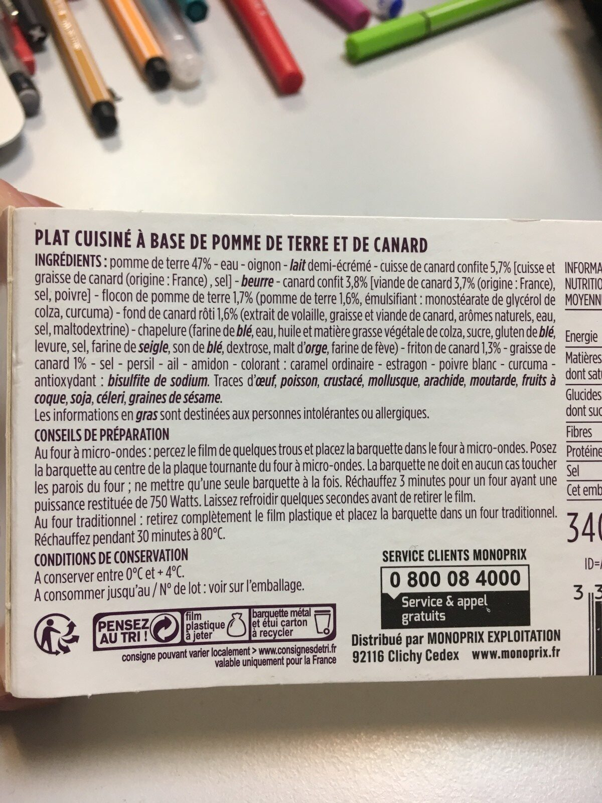 Parmentier de pommes de terre au canard confi - Ingrédients - fr