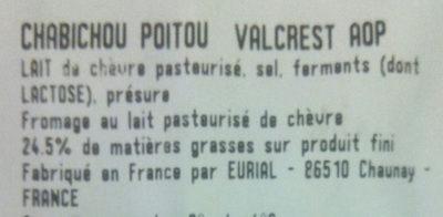 Chabichou Poitou - Ingrediënten