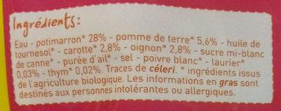 Soupe potimarron et carotte bio - Ingrédients