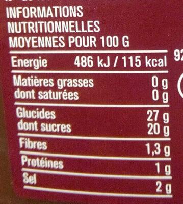 Ketchup hot - Información nutricional - fr