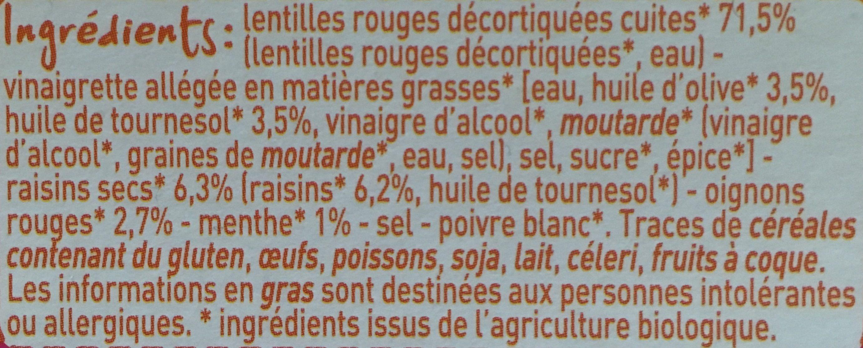 Lentilles corail aux raisins secs - Ingrediënten - fr