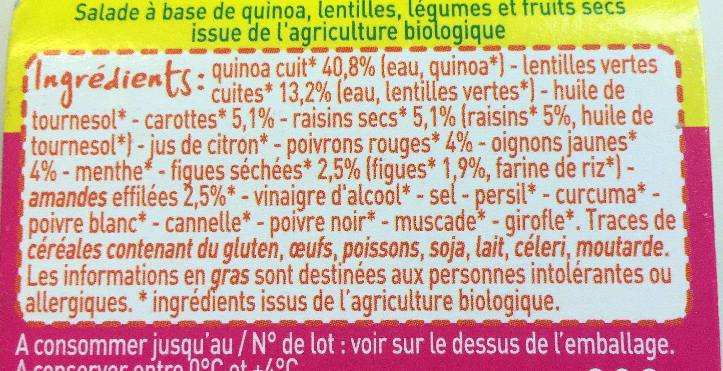 Quinoa aux legumes et fruits secs - Ingrédients
