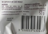 Capsules de café pur arabica Ethiopie du Sidamo bio - Ingrediënten - fr