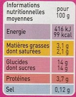Yaourt aux fruits mixés - Nutrition facts