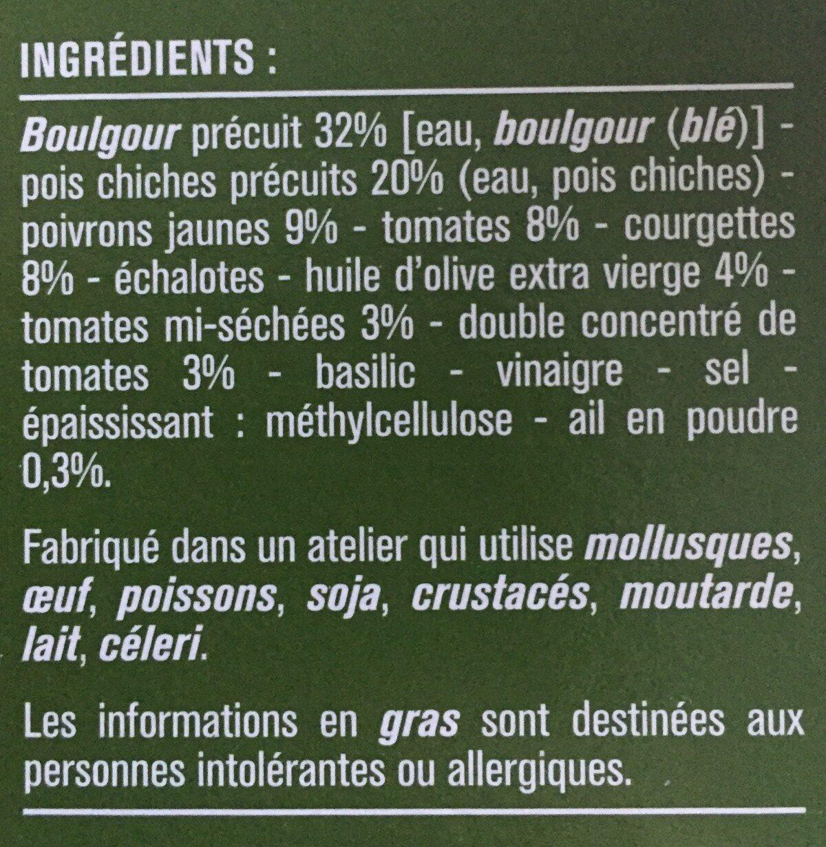 Galette provençal boulgour pois chiches - Ingredients