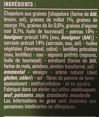 Galettes panées sarrasin boulgour poireaux - Ingrediënten - fr
