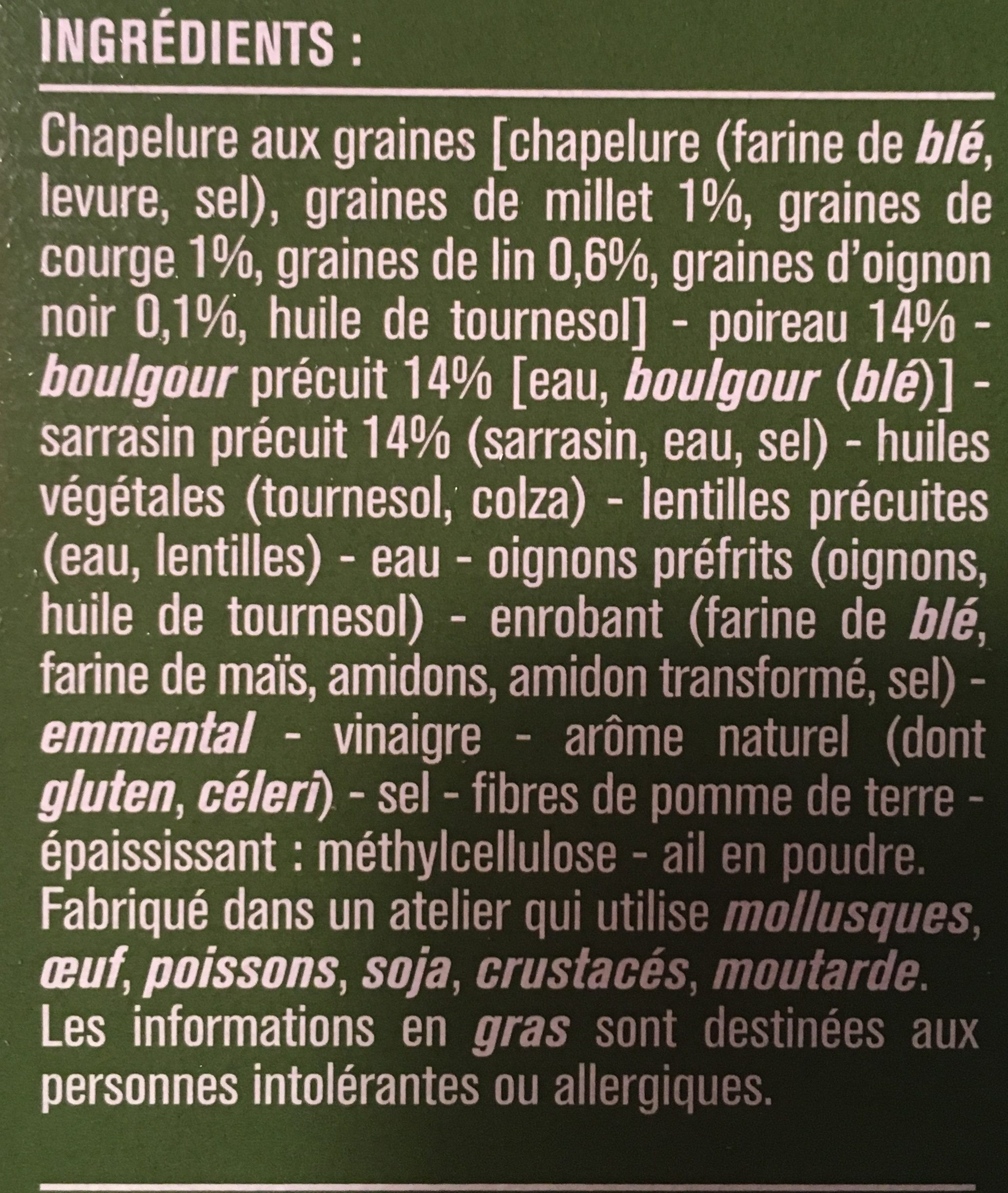 Galettes panées sarrasin boulgour poireaux - Ingredients