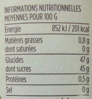 Confiture Fraises de Dordogne - Informations nutritionnelles - fr