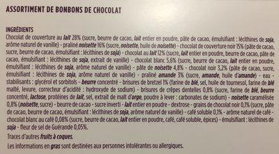 Assortiments de 48 fins chocolats - Ingrediënten - fr