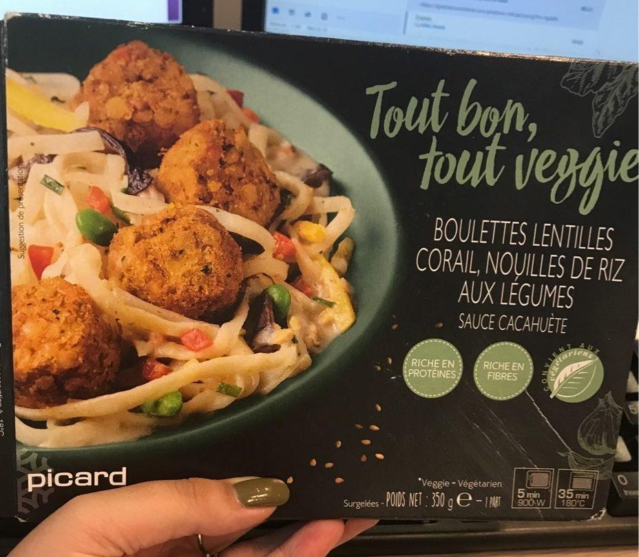 Boulettes Lentilles Corail, Nouilles de Riz aux Légumes, Sauce Cacahuète - Product