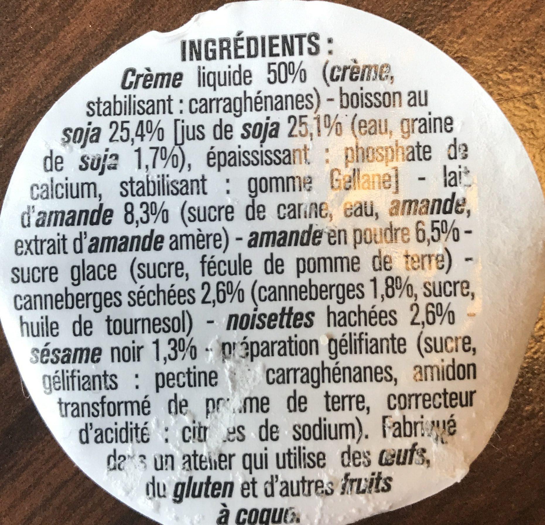 Crème au Lait d'Amande et Soja - Ingrédients - fr
