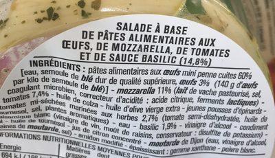 Mini penne tomates mozza - Ingrédients - fr