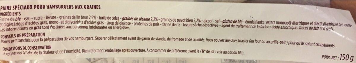 Pain burger aux 3 graines - Ingredientes - fr