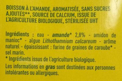 Lait d'amandes sans sucres - Ingrédients - fr