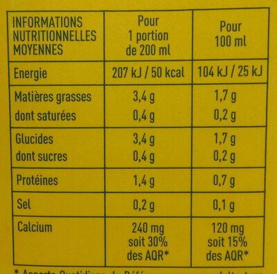 Lait d'amandes sans sucres - Informations nutritionnelles - fr