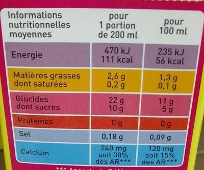 Boisson au riz Calcium - Informations nutritionnelles