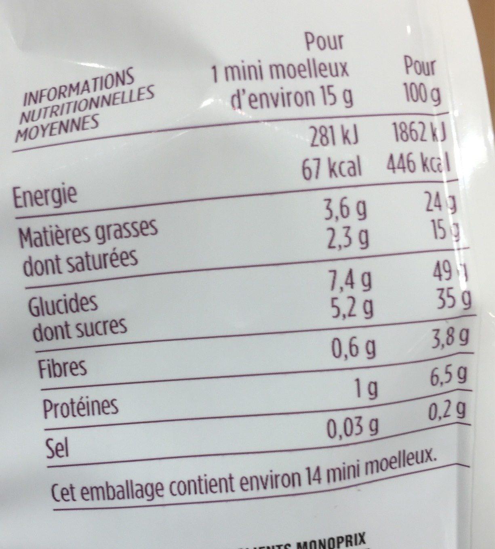Mini moelleux au chocolat - Voedingswaarden - fr