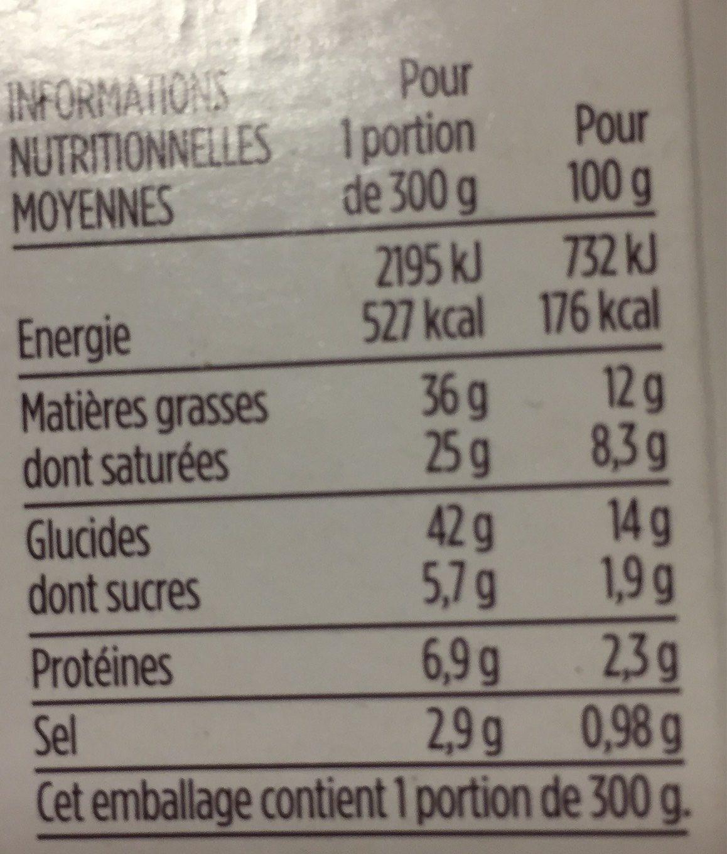Gratin Dauphinois Gourmet - Informations nutritionnelles
