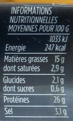 Caviar français - Informations nutritionnelles - fr