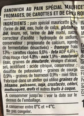 Le mini carottes chou rouge fromage frais noix - Ingredients