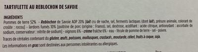 Tartiflette au Reblochon de Savoie - Inhaltsstoffe - fr
