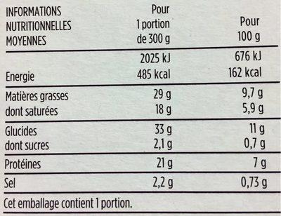 Tartiflette au Reblochon de Savoie - Nährwertangaben - fr