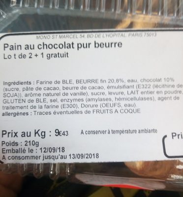 Pain au chocolat pur beurre - Ingrédients