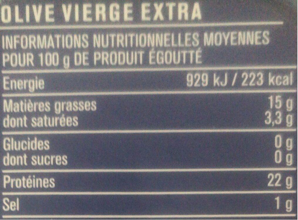 Sardines à l'huile d'olive vierge extra - Informations nutritionnelles - fr