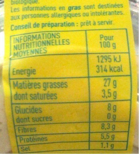 Houmous a l'huile d'olive vierge extra - Valori nutrizionali - fr