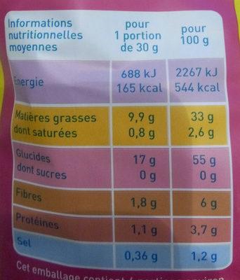Chips paysannes ondulés - Voedingswaarden