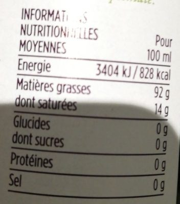 Huile d'olive vierge extra - Informations nutritionnelles