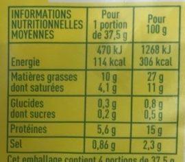 Lardons nature - Voedingswaarden - fr