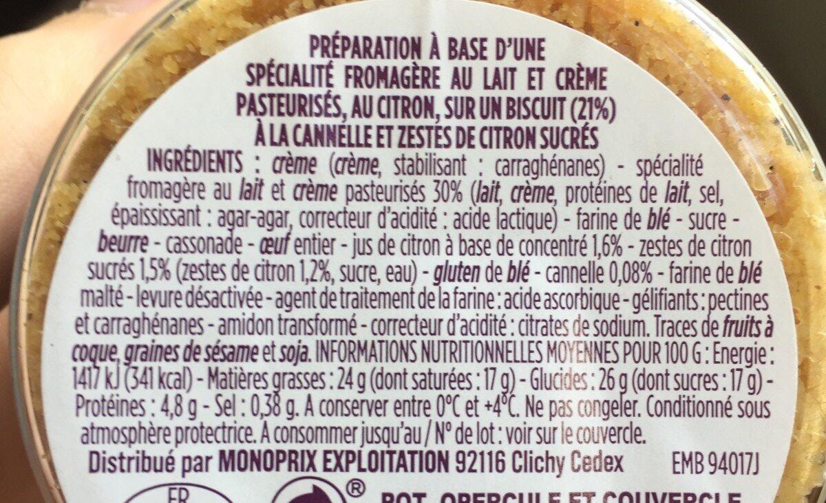 Cheescake onctueux citron - Ingrédients - fr