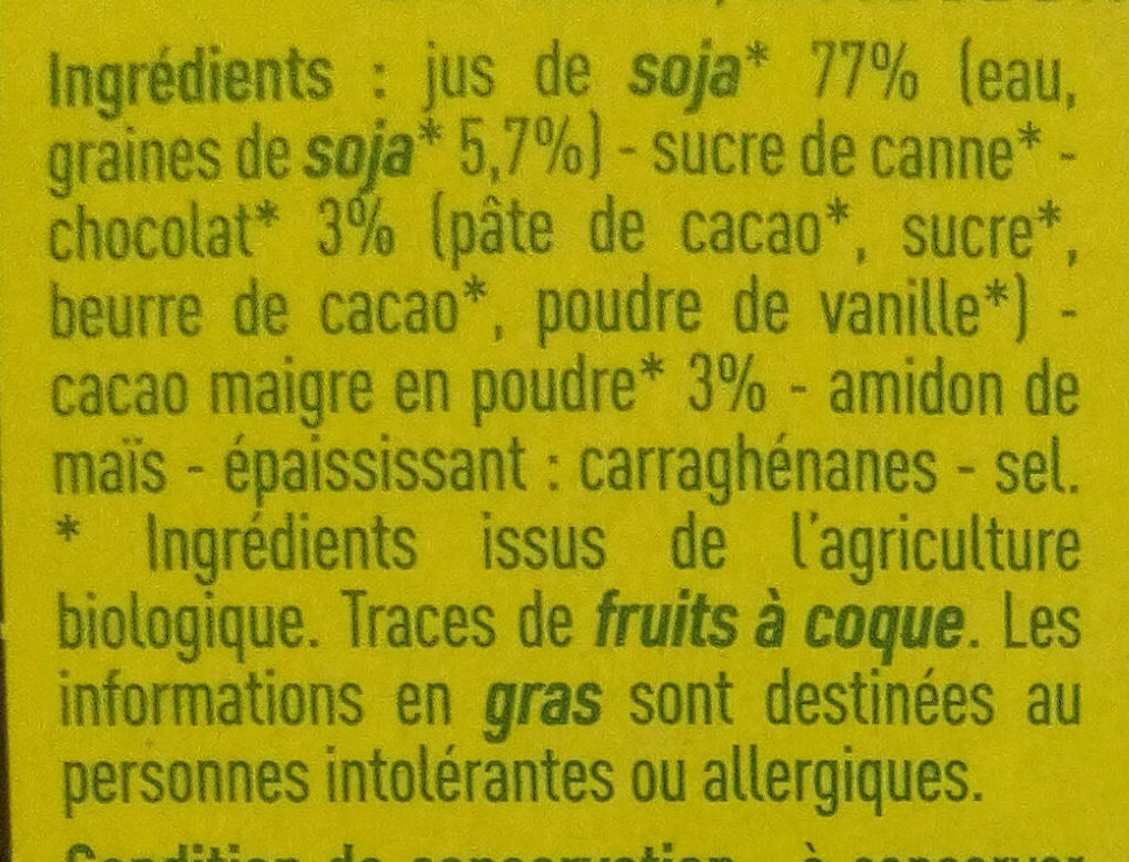 Specialite au soja chocolat - Ingrediënten - fr