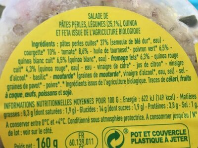 Salade de perles au quinoa feta - Ingredients
