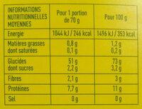 Coquillettes à la semoule de blé dur - Informations nutritionnelles - fr
