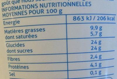 Glace vanille bourbon - Informations nutritionnelles