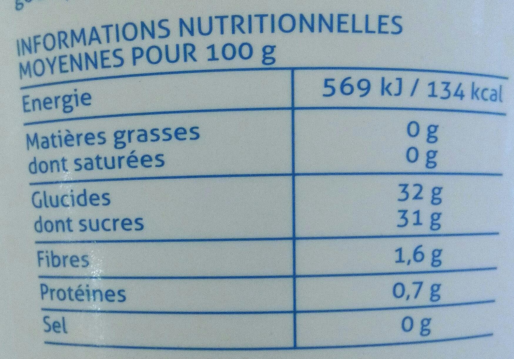 Framboise plein fruit - Informations nutritionnelles