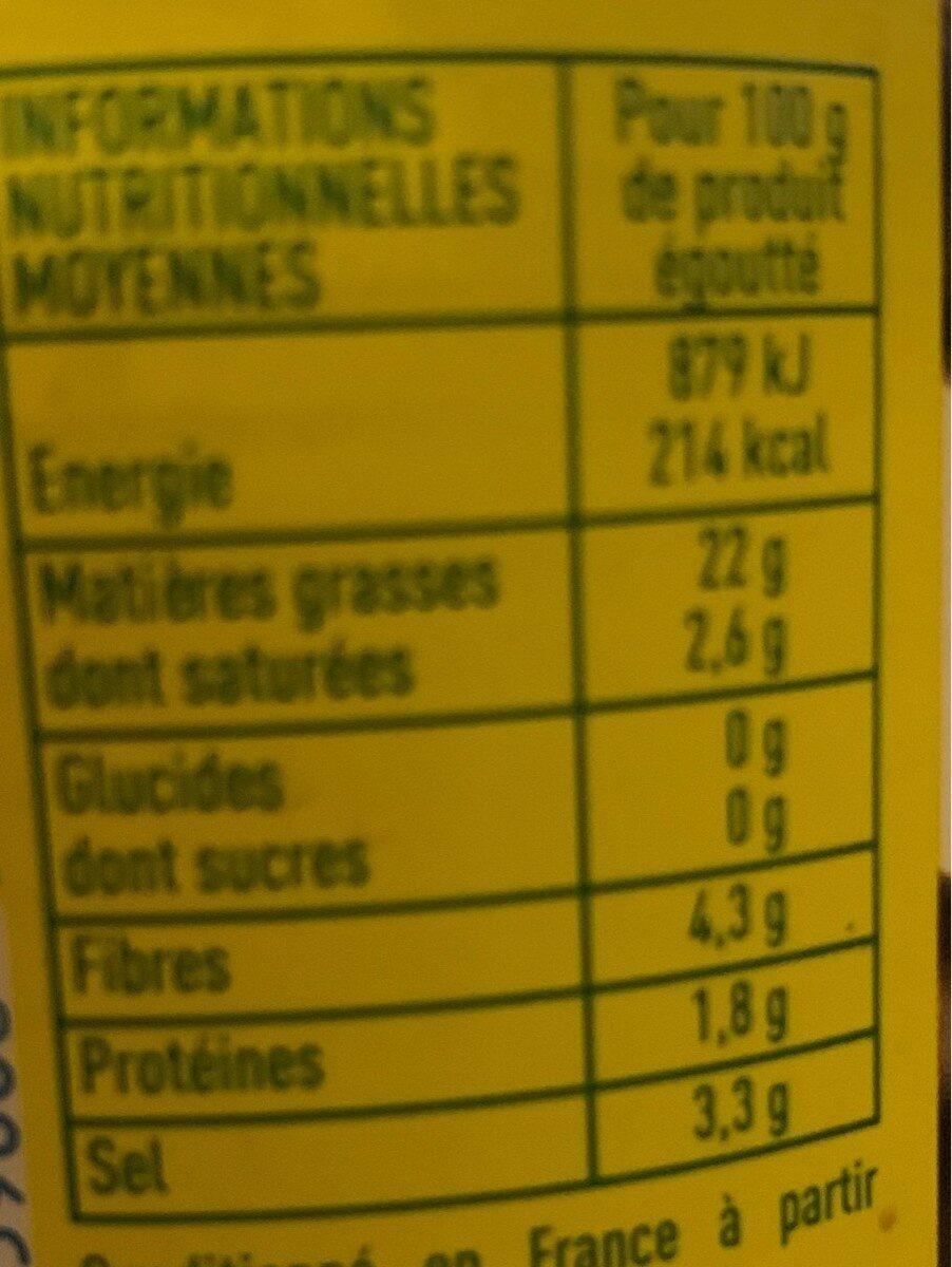 Olives noires entières au naturel - Informations nutritionnelles - fr