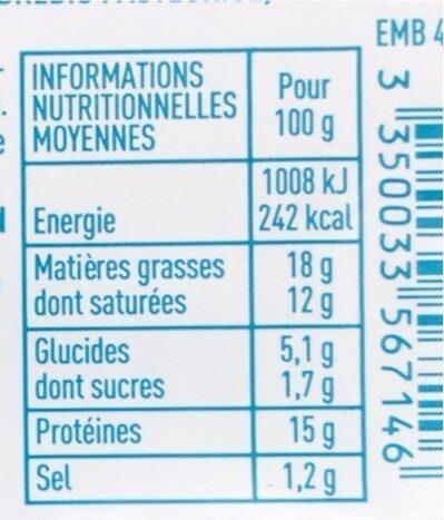 Brique de brebis bio - Informations nutritionnelles - fr