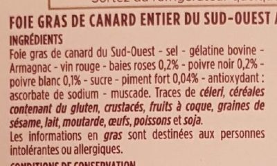 Foie gras de canard entier aux 3 baies - Ingrediënten - fr