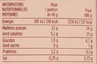 Foie gras de canard entier aux 3 baies - Voedingswaarden - fr