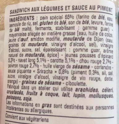 La Baguette Façon Banh Mi Sauce Sriracha - Ingrediënten - fr