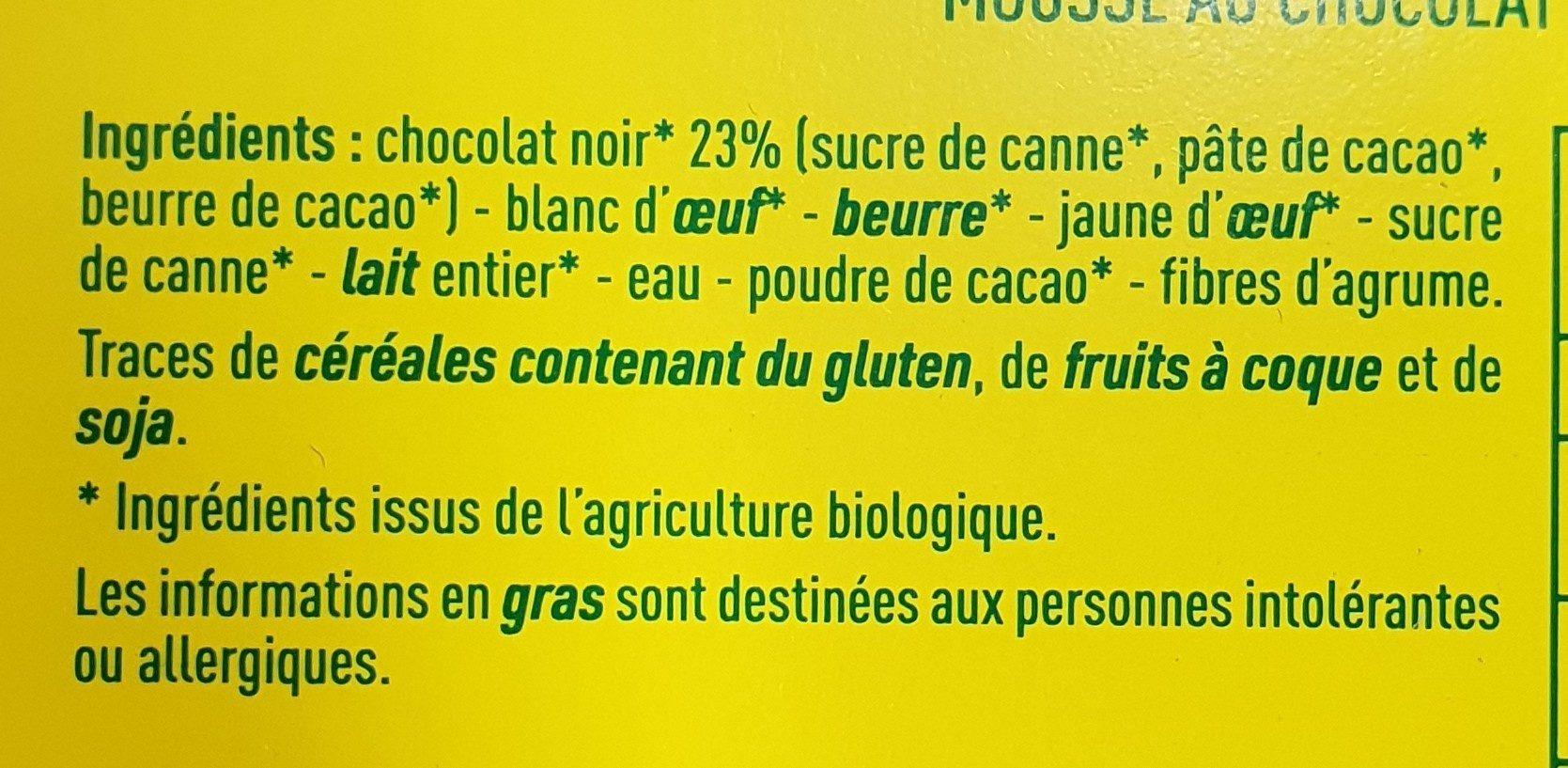 Mousse au chocolat pour beurre de cacao - Ingrédients - fr